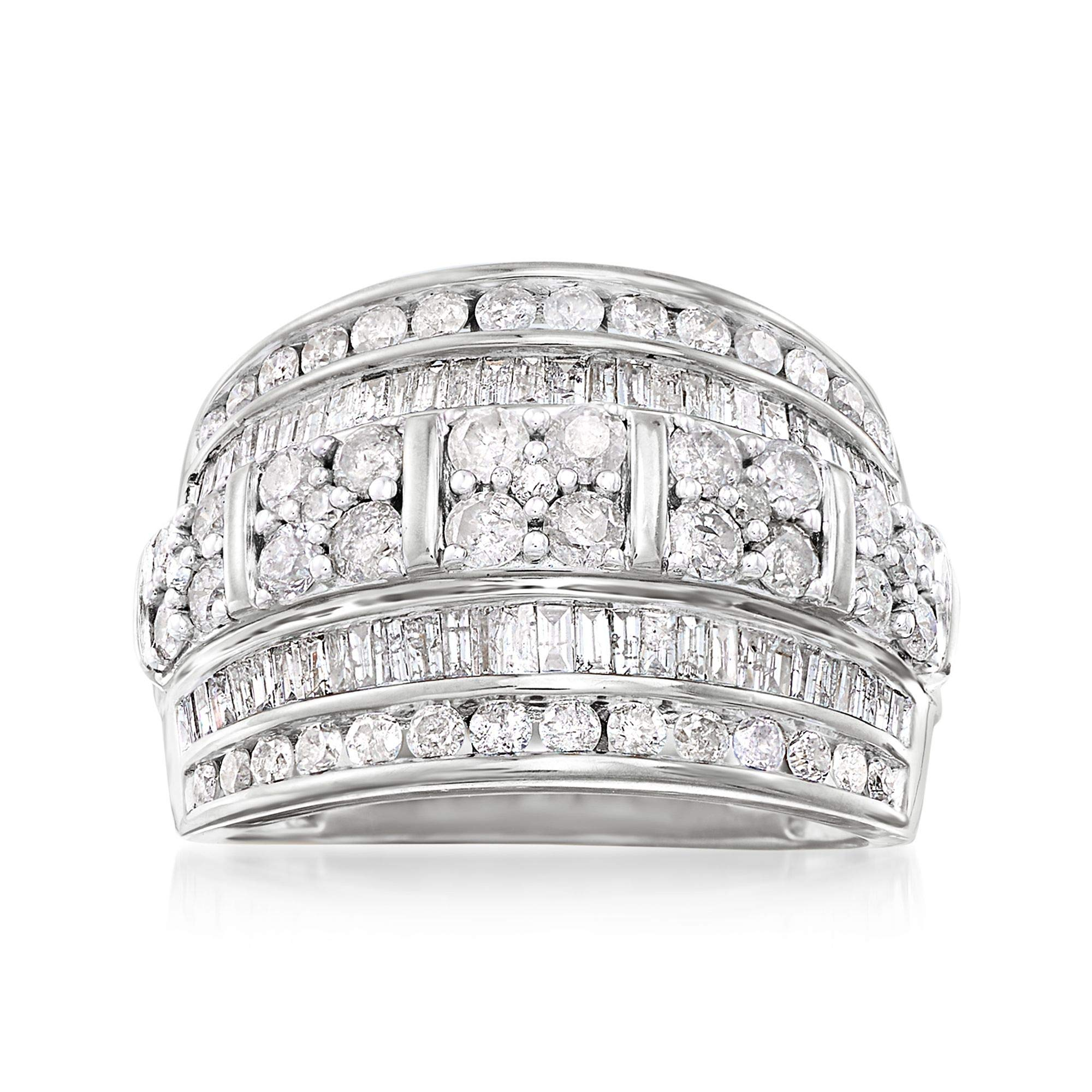 Ross-Simons 2.00 ct. t.w. Baguette and Round Diamond Multi-Row Ring in Sterling Silver by Ross-Simons