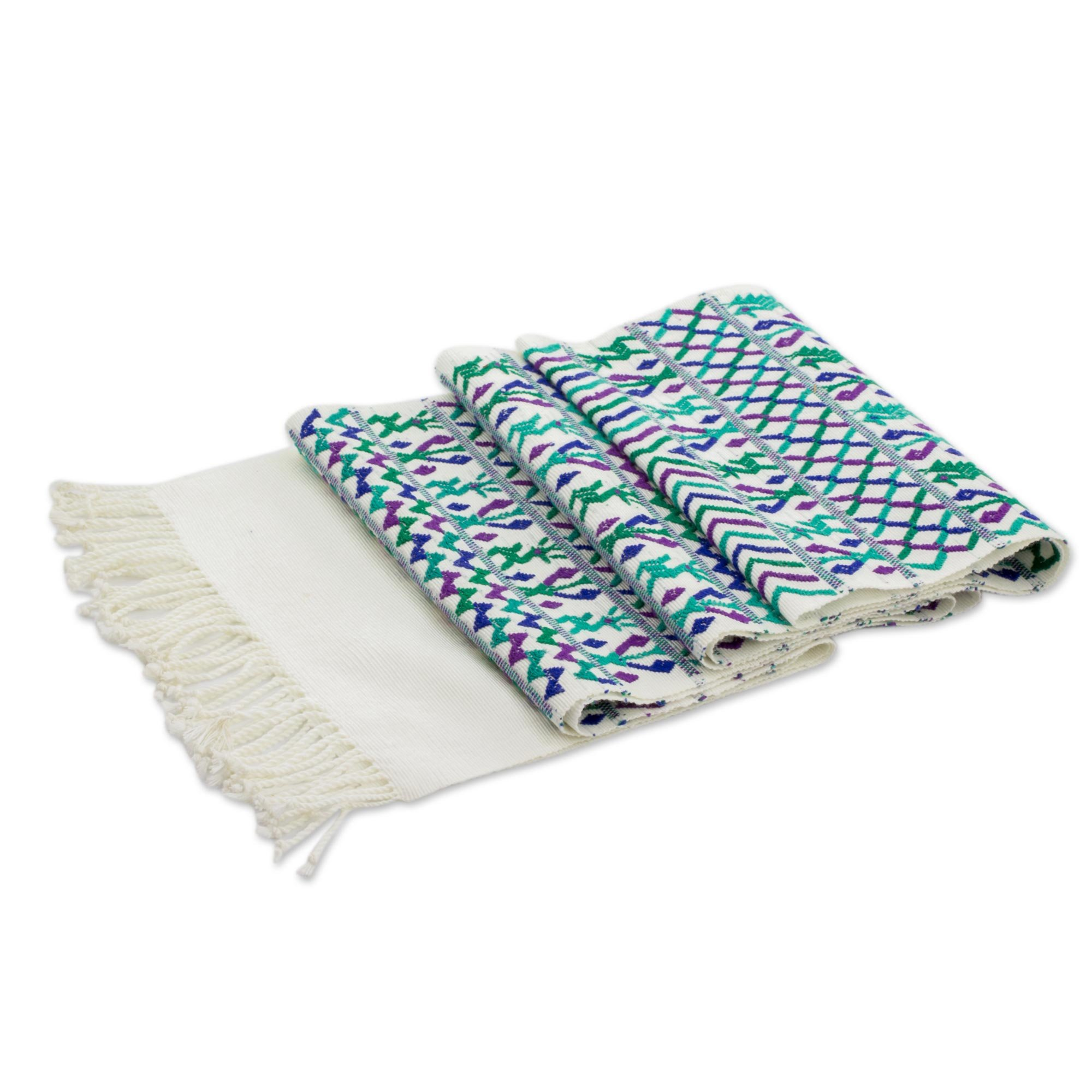 NOVICA Multicolor Animal Themed Cotton Table Runners, 'Natural Magic In Ivory'