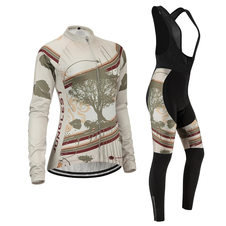 Jngles Radtrikot Radhose Damen Langarm Jersey(S5XL,Option Trägerhose,3D Sitzpolster) N233