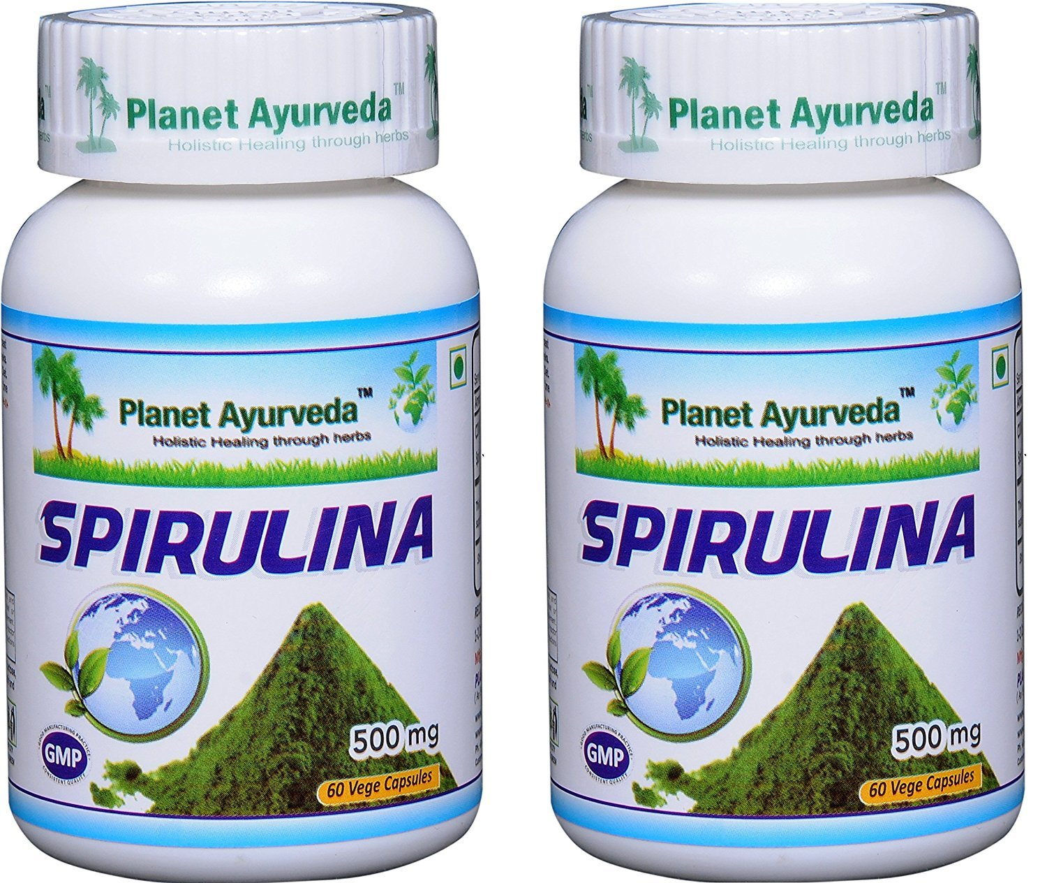 Spirulina - 2 bottles (each 60 capsules, 500mg) - algae 100% natural - Planet Ayurveda (in USA)