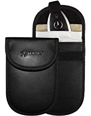 Sentry RFID Signal Blocking Keyless Entry Car Key Fob Pouches (2 Pack) | PU Leather | Anti Theft Faraday Protection Bags