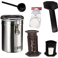 AeroPress Cafetera de café y espresso con bidón de café de acero inoxidable cepillado y 350 filtros adicionales – hace…
