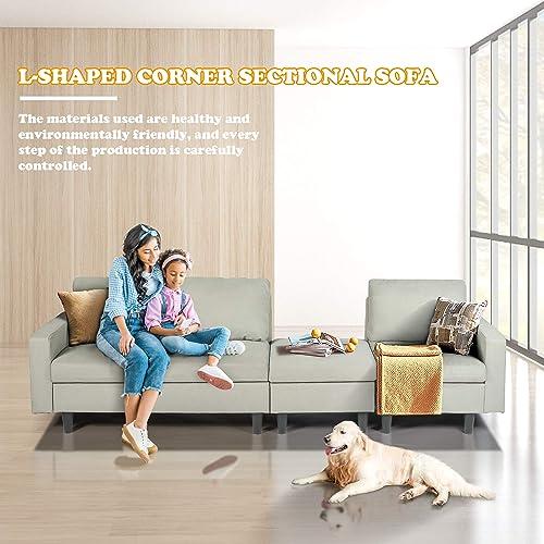 Modern Light Grey Fabric L-Shaped Corner Sofa Bed