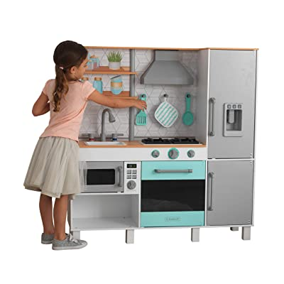 KidKraft 53421 Gourmet Chef Play Kitchen with EZ Kraft Assembly Gray: Toys & Games [5Bkhe0506436]