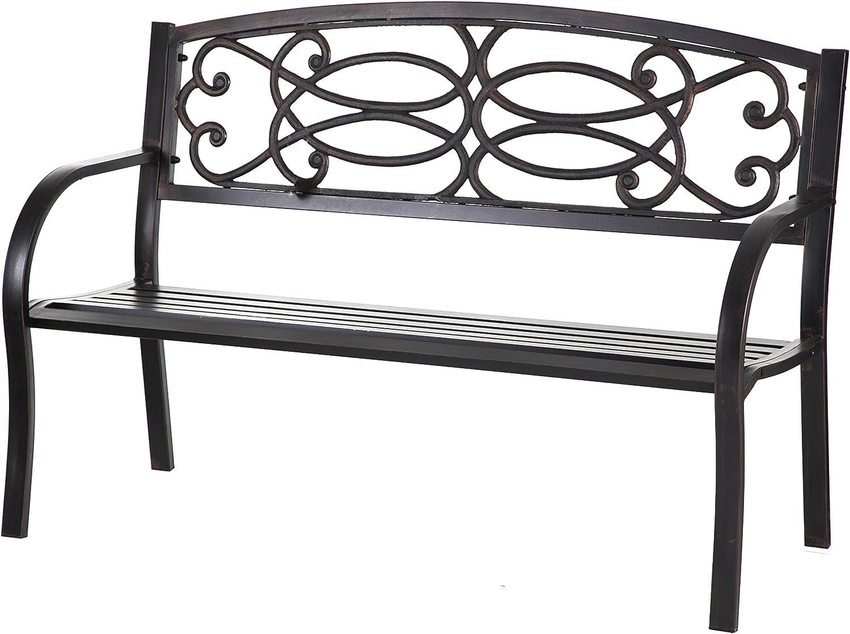 Metal Garden Bench - 50 x 33 x 23 Inches