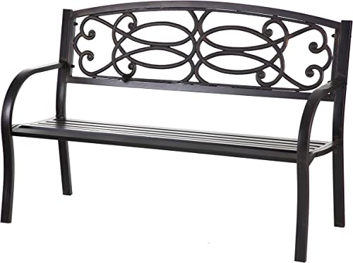 Cape Craftsmen Metal Garden Bench – 50 x 33 x 23 Inches