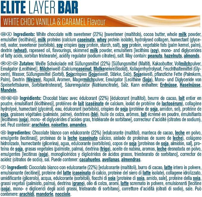 Dymatize Elite Layer Bar White Choc Vanilla & Caramel 18x(2x30g) - Barra alta en Proteína y Baja en Azúcar