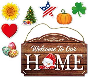 Choies Seasonal Welcome to Our Home Sign with 8 Interchangeable Holiday Magnets for Halloween, Easter, Fall, Christmas, Valentines,Rustic Wood Grain Print Door & Wall Decor 17 x 11 inch