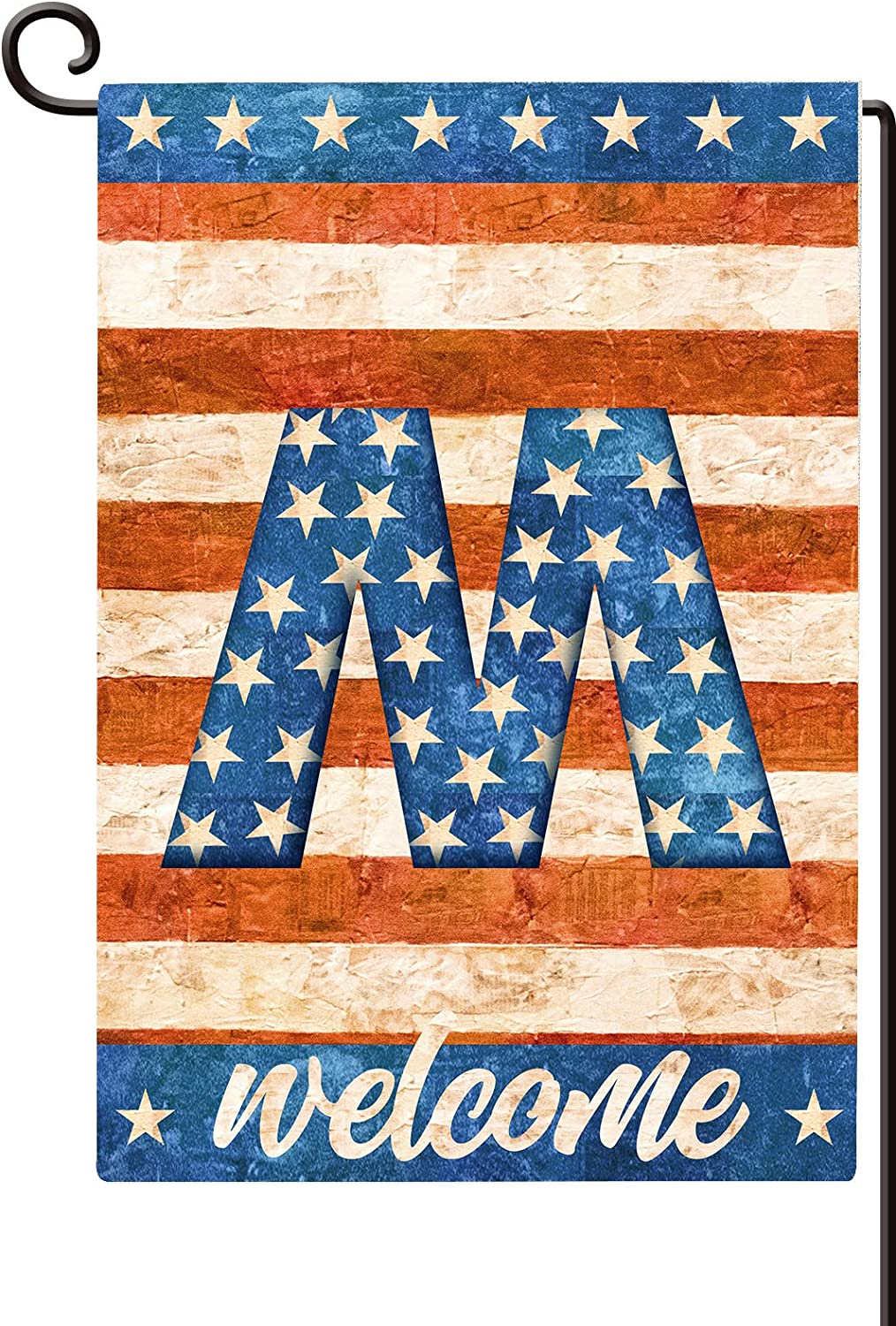 Agantree Art American Patriotic Monogram Letter M Small Garden Flag Waterproof Double Sided Yard Outdoor Decorative 12 x 18 Inch