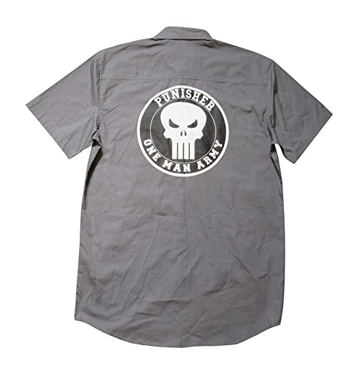 Punisher Blue Line W//Left Chest Embroidery Ripstop Crew Shirt-SY20