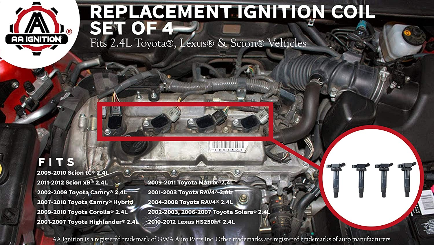 Ignition Coil Pack Set Of 4 Fits Toyota Camry Corolla 2001 Engine Solara Rav4 Scion Tc Xb Lexus Hs250h More 20l 24l Models Replaces