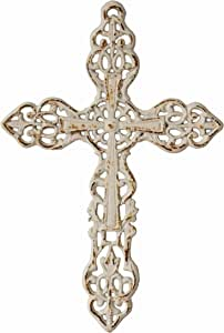 Stonebriar Distressed White Cast Iron Wall Cross with Hanging Loop, Celtic Inspired Design, Religious Decoration for The Living, Bedroom, Nursery, or Any Room in Your Home, Worn