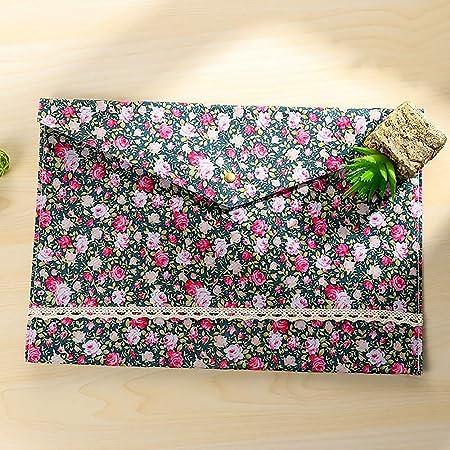 Archivadores A4 florales en sobre de algodón con cierre de botón para clasificación y almacenamiento de documentos y material escolar 32.5 * 23.4cm azul ...