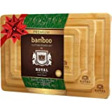 Organic Bamboo Cutting Board with Juice Groove (3-Piece Set) - Kitchen Chopping Board for Meat (Butcher Block) Cheese…