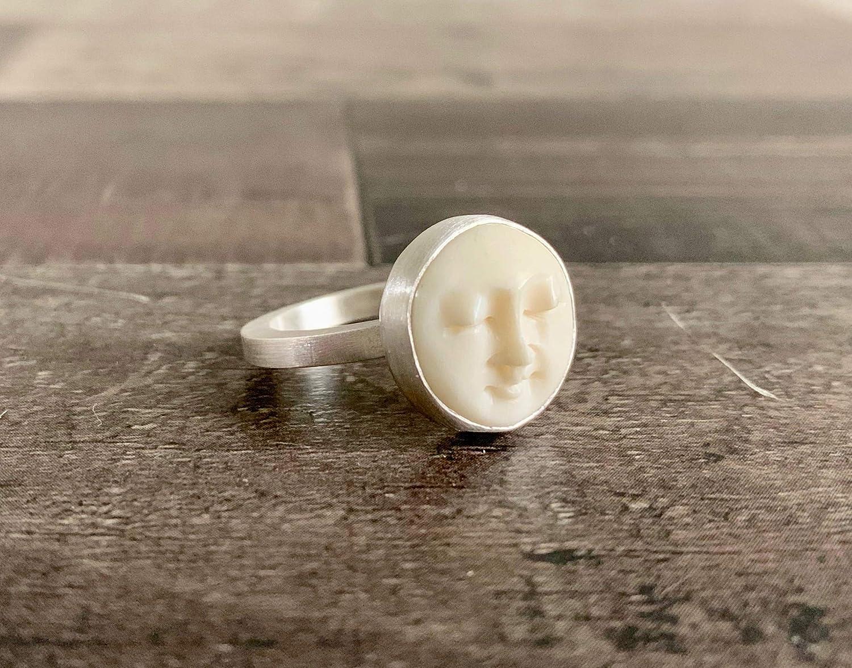 Amazon Com Custom Made Ring Sterling Silver Moon Face Ring Man In The Moon Ring Moon Ring Buffalo Bone Ring Sterling Silver Ring Gift For Her Handmade