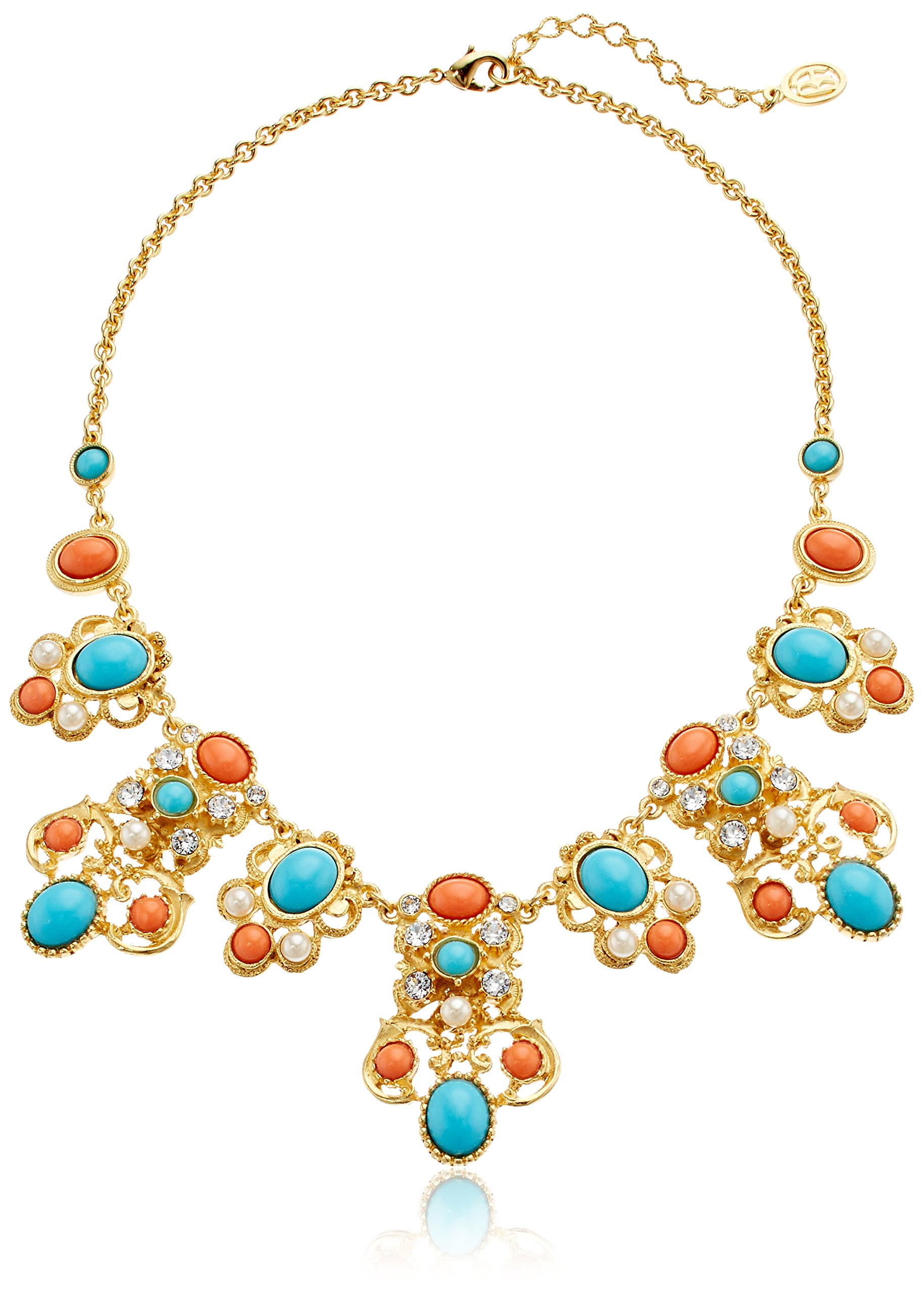 Ben-Amun Jewelry Santorini Turquoise Coral Stone Gold Pendant Necklace, 15'' + 2'' Extender