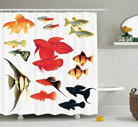Océano Animal Decor cortina de ducha (exóticas y tropicales tipos Acuario Peces Goldfish Barbus ángel