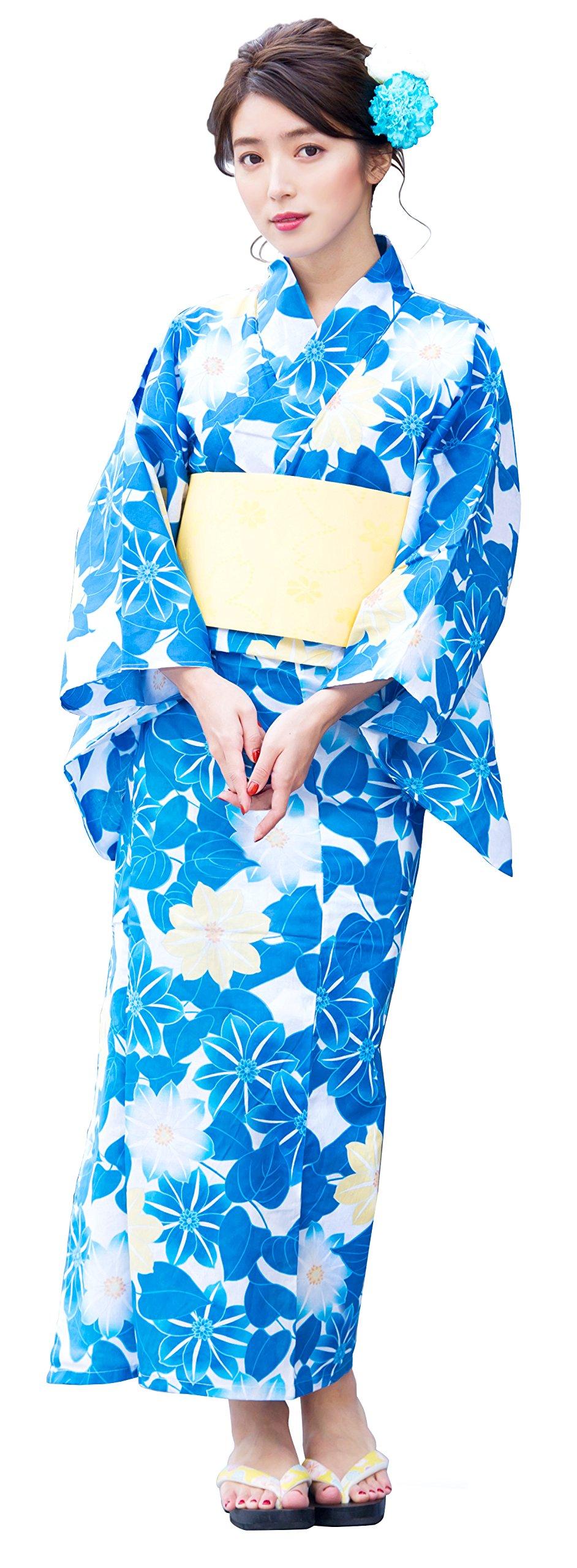 Kimura Jitsugyo Women's Kyoto Traditional Easy Wearing Kawaii Yukata Robe(Japanese Casual Kimono) Full Set 4 Blue & Clematis Type 5 Woman