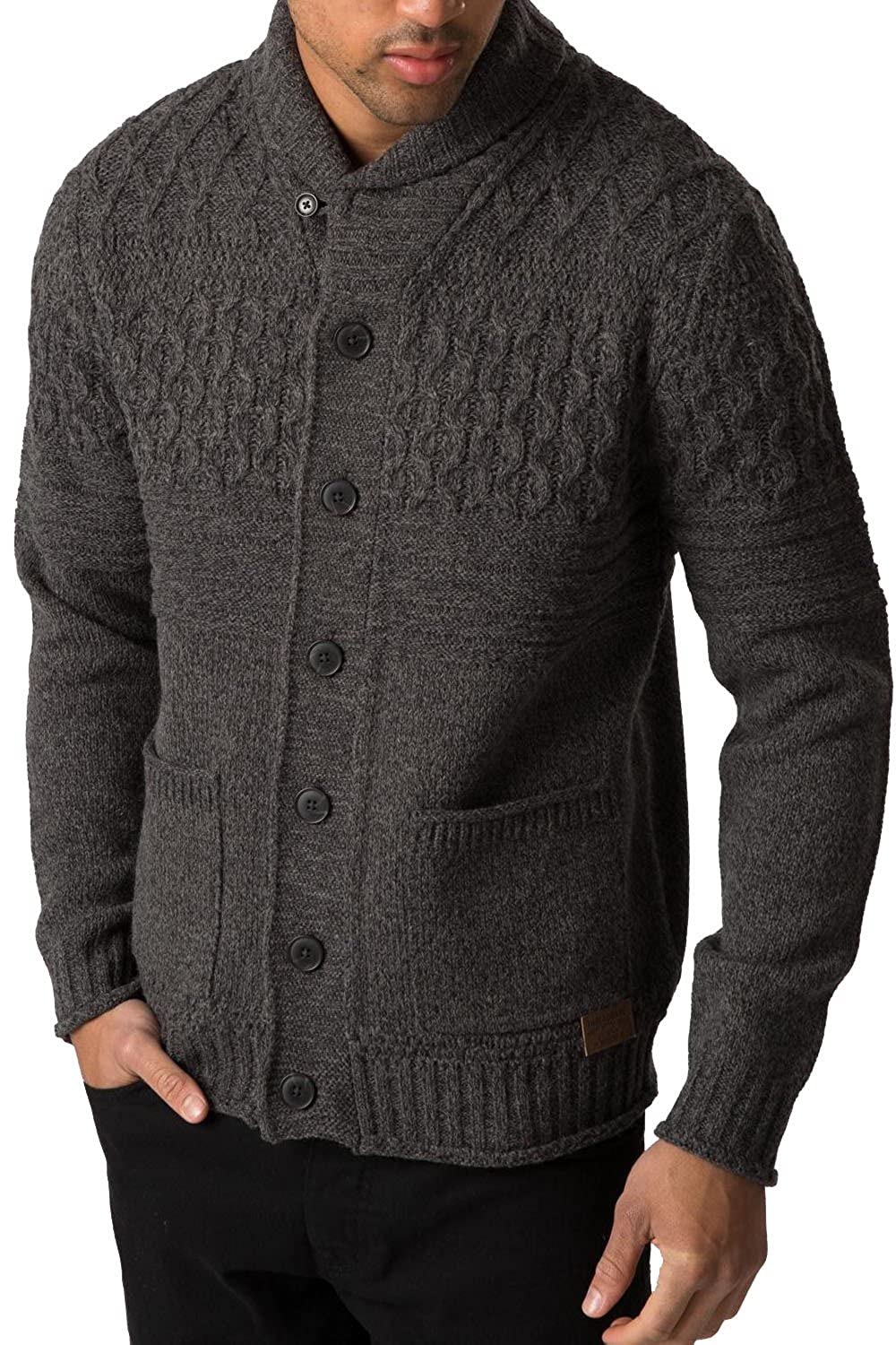 Threadbare Lille Mens Button Up Chunky Knit Shawl Neck Cardigan ...