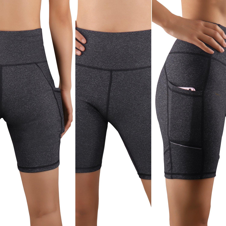 High Waist Workout Pants Shapewear Leggings Yoga Shorts pockets Tummy Control Non See-Through Fabric GRAT.UNIC Women Sports Shorts Running 4 Way Stretch