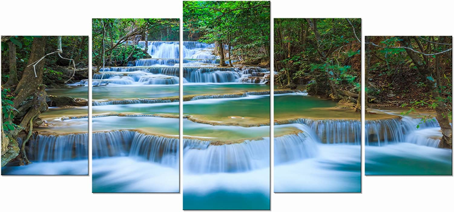 Wieco Art Peaceful Waterfall Modern 5 Piece Stretched And Framed Artwork Giclee Canvas Prints Green Landscape Pictures Paintings On Canvas Wall Art For Living Room Bedroom Home Decorations Posters