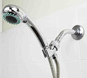 Sunbeam 3 Function Chrome Plated Steel Shower Head Massager Handheld Showerhead High Pressure Removable Head and Mount with Shower, Spray and Pulse Function Combination