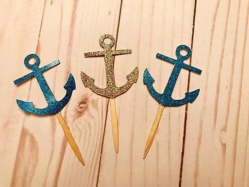 Nautical Party Decor Anchor Cupcake Toppers Set of 12 Nautical Cupcake Toppers Gold Anchor Cupcake Toppers Glitter Cupcake Toppers
