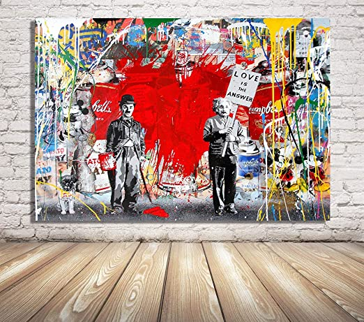 BANKSY GRAFITTI KIDS PAINTING REPRINT ON FRAMED CANVAS WALL ART HOME DECORATION