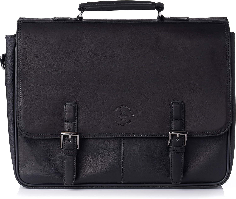 "Hammer Anvil Pierce Colombian Vacquetta Leather 15.6"" Laptop Briefcase Black"