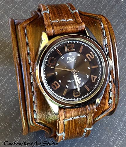 c5463016fef Image Unavailable. Image not available for. Color  Smokey Brown Leather ...