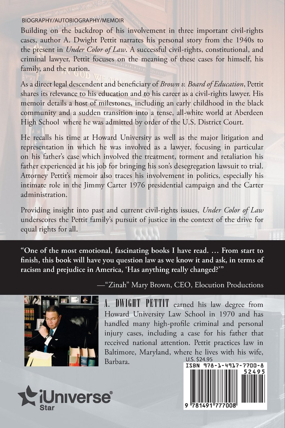 Under Color Of Law A Dwight Pettit 9781491777008 Amazon Books