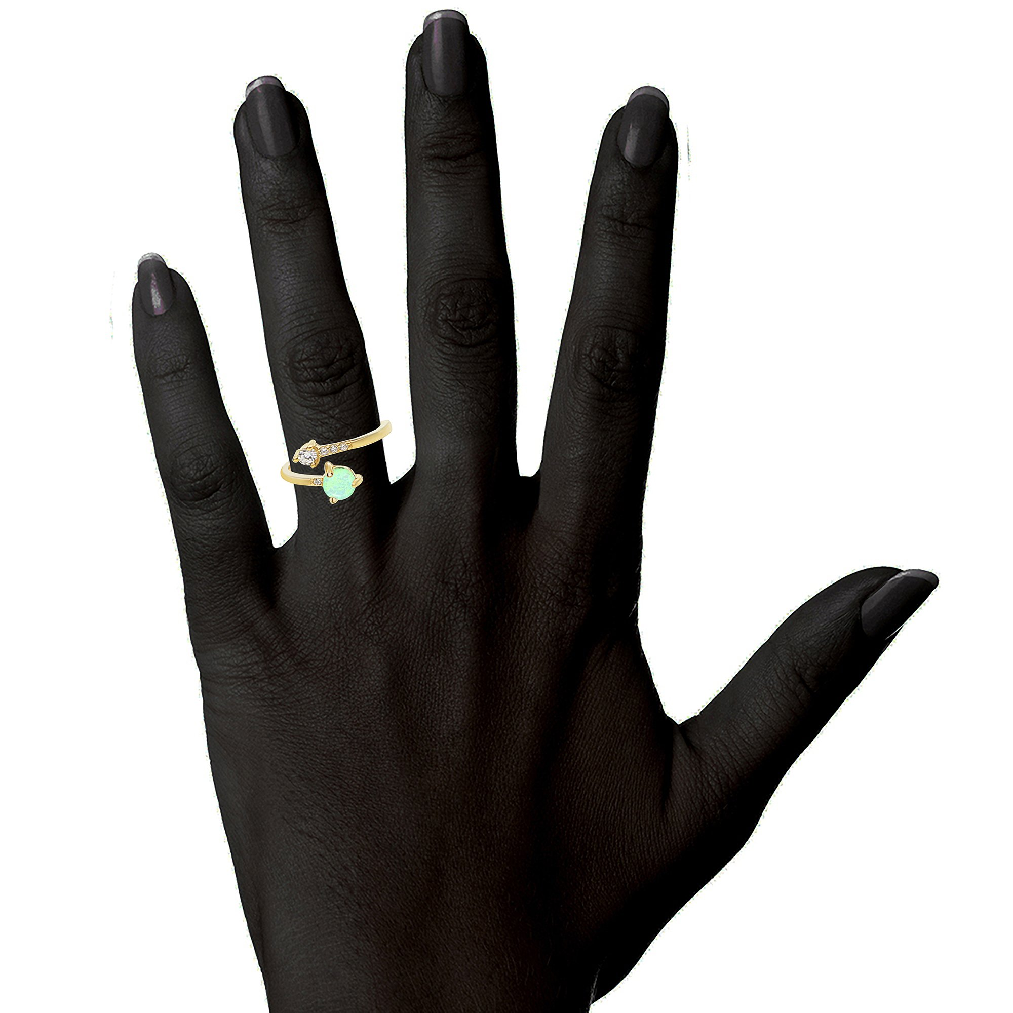 PAVOI 14K Yellow Gold Plated Wrap Cubic Zirconia and Created Green Opal Ring Stackable Ring by PAVOI (Image #3)
