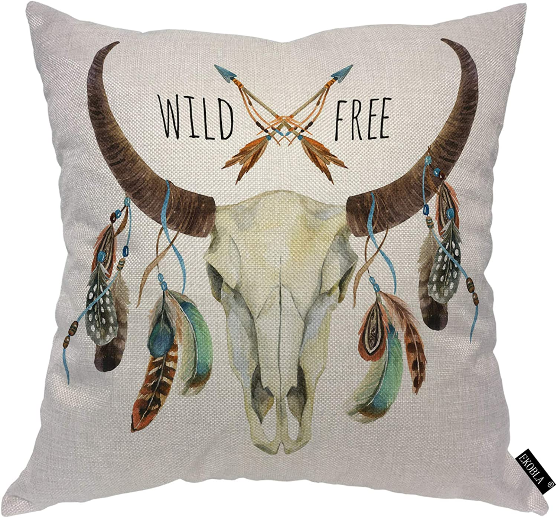 EKOBLA Cow Skull Throw Pillow Cover Buffalo Feathers Quotes Wild Free Animal Arrow Tribal Skeleton Cozy Square Cushion Case for Men Women Boys Girls Room Home Decor Cotton Linen 18x18 Inch