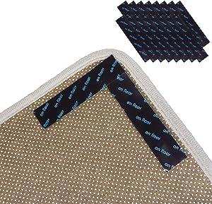 M MCTION Non Slip Rug Gripper Sticky Anti Skid Rug Pads Tape 16PCS Removable Under Carpet Grippers Sticker Holder Stopper for Area Rugs Runner Rug for Hardwood Tiles Laminate Floors