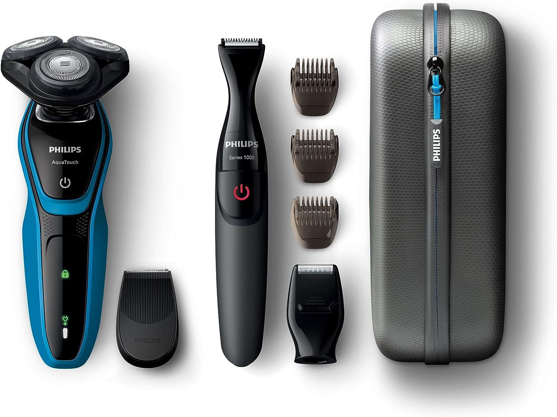 Philips AquaTouch S5050/67 - Afeitadora (Máquina de afeitar de rotación, 2 año(s), Negro, Azul, AC/Batería, Níquel-metal hidruro (NiMH), 30 min): Amazon.es: Hogar