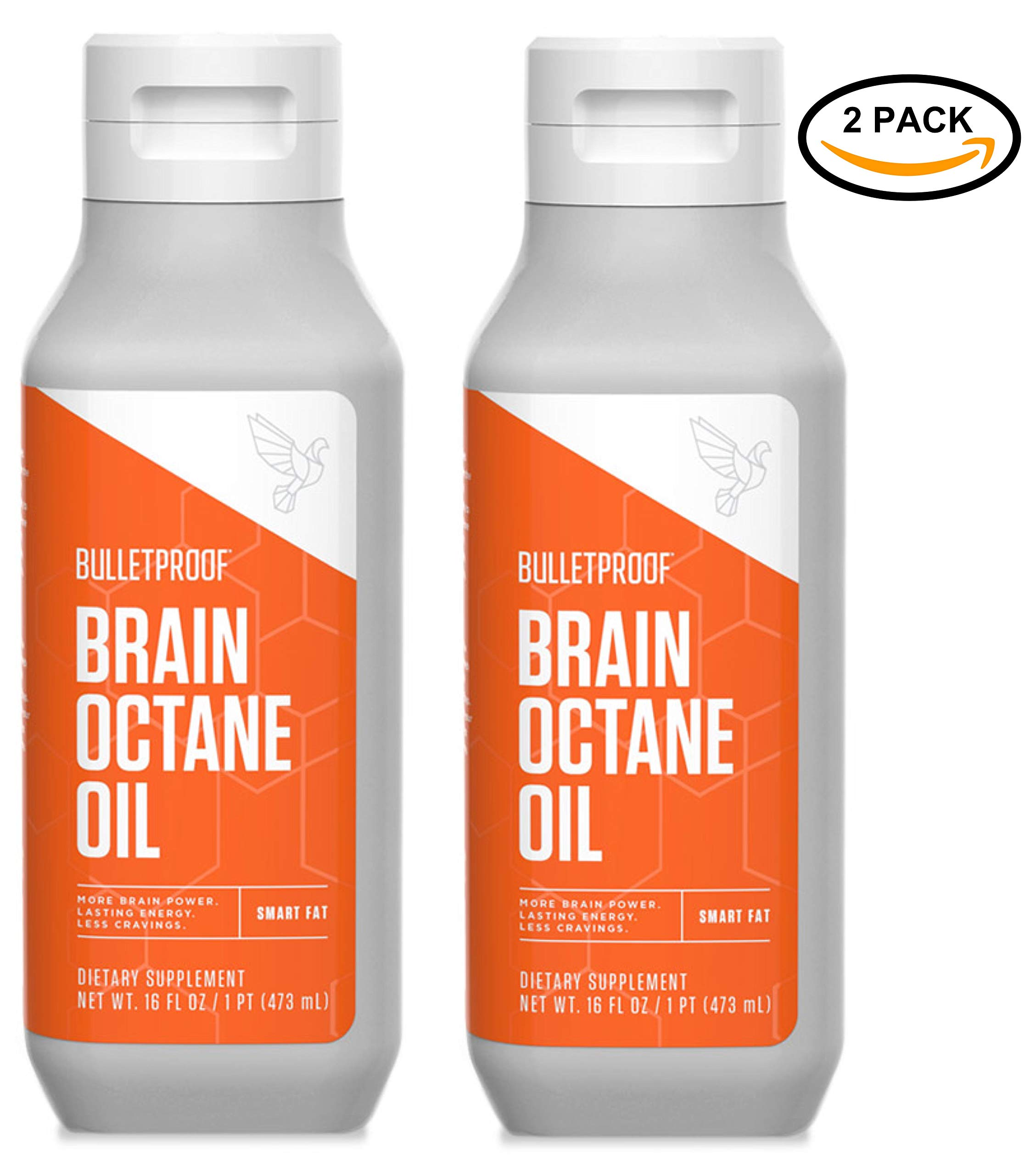 Bulletproof Brain Octane MCT Oil, Perfect for Keto and Paleo Diet, 100% Non-GMO Premium C8 Oil, Ketogenic Friendly, Responsibly Sourced from Coconuts Only, Made in the USA (2-Pack of 16oz) by Bulletproof
