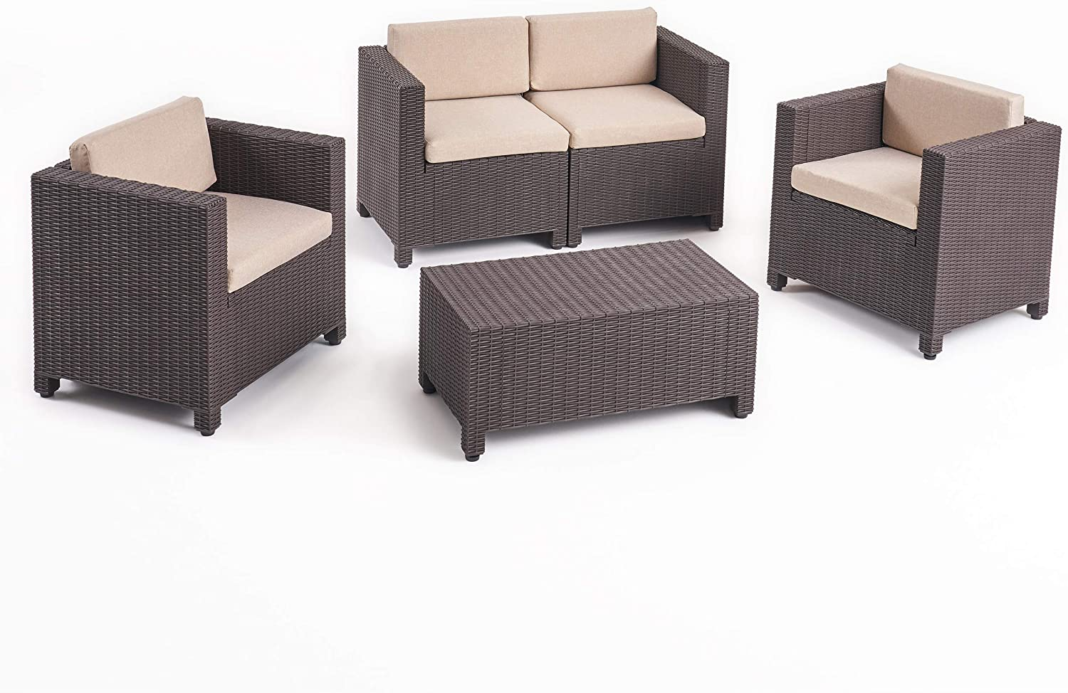 Christopher Knight Home 309023 Waverly All Weather Faux Wicker 4 Seater Chat Set with Cushions, Brown, Beige