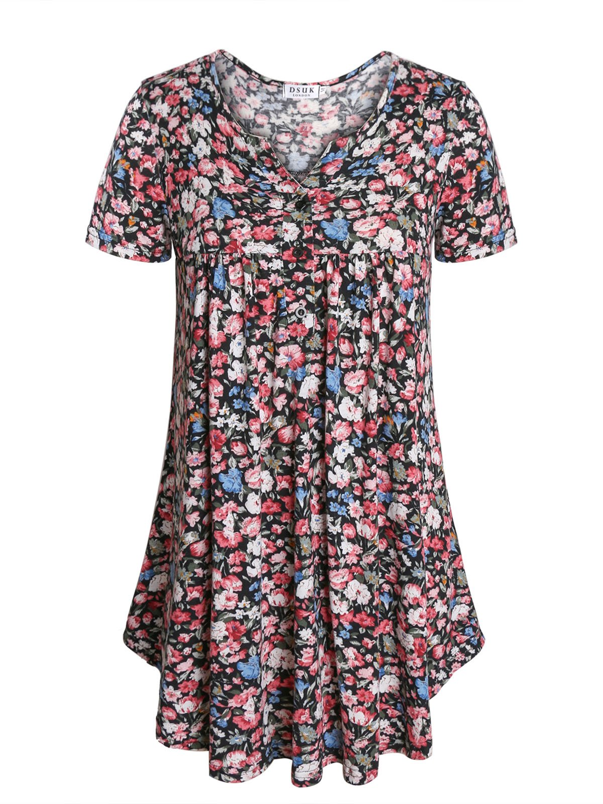 Floral Tunics for Women,DSUK Women Short Sleeve Round Neck Drape Front Daily Wearing Flower Print Tops Scallop Hem Soft Comfy Fabric Lightweight Fitted Shirts Leisure Blouse Black Medium