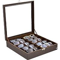 Porta-Óculos Total Luxo Couro Ecológico Marrom Marrom 10 Divisórias