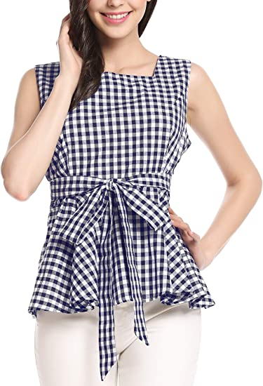 Ladies Sleeveless Gingham Check Ruffle Strappy Floral Embroidered Peplum Top