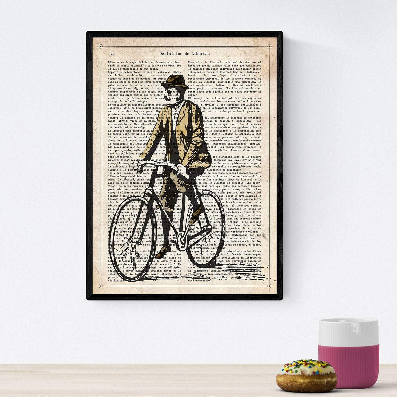 Nacnic Poster de Hombre en Bici. Láminas de Bicicletas definiciones. Decoración de Ciclismo para Deportistas y Ciclistas. Tamaño A4 con Marco