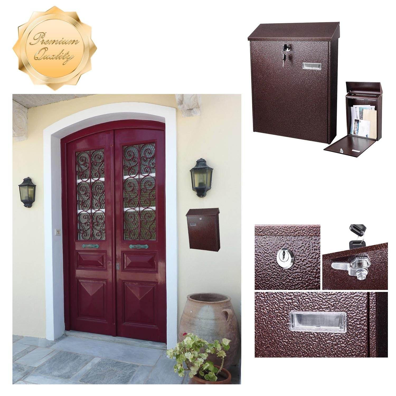 GC Global Direct Steel Wall Mount Mailbox Locking Security Letterbox Size Opt (Steel 15''x12'')