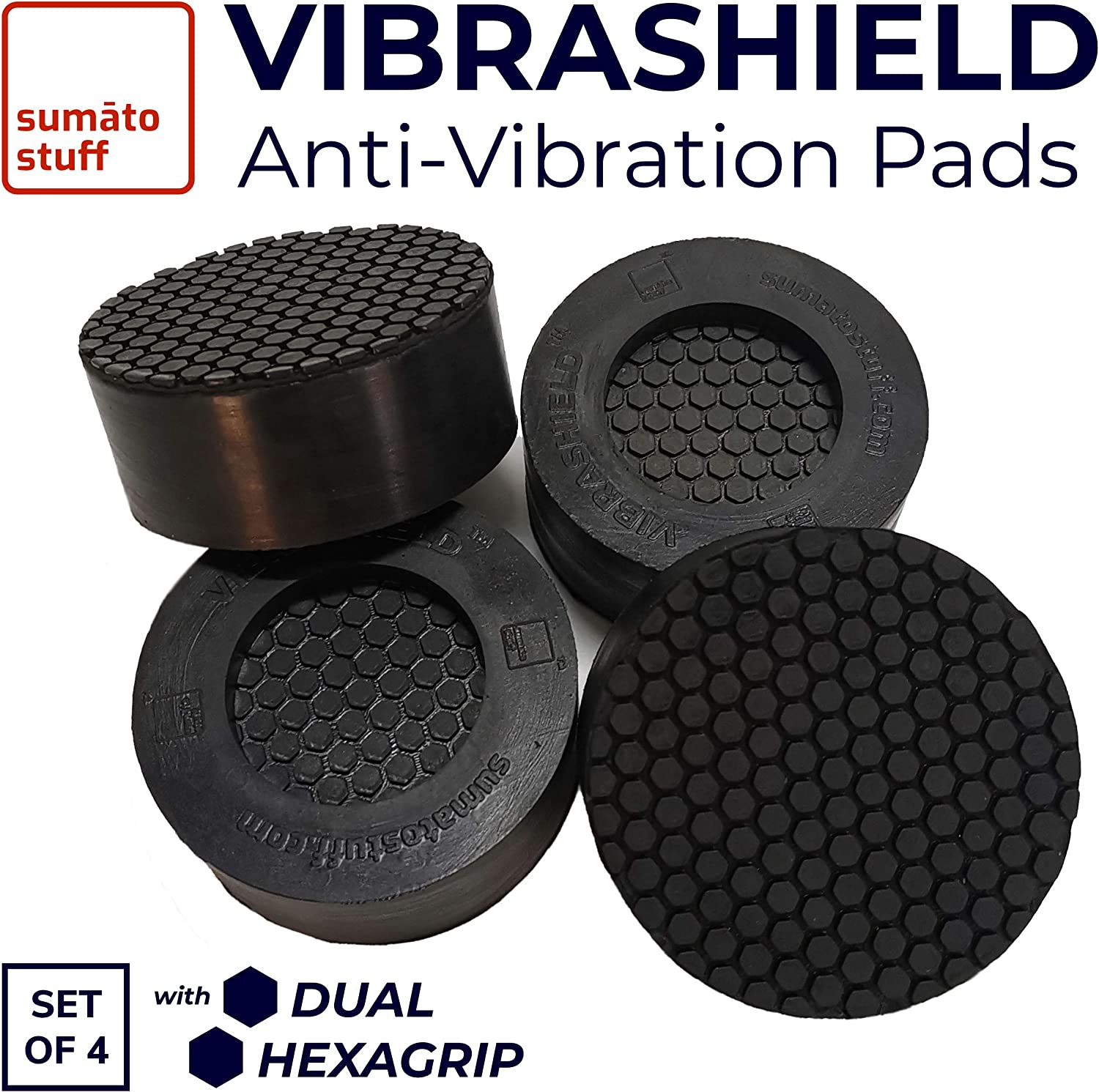 Anti Vibration Pads for Washing Machine with Dual HexaGrip | Prevents Vibrations, Noise, Shaking & Walking | Shock Absorbing Non Slip Grip Feet Pad for Washer Dryer Appliances [Universal Fit - 4 Pack]