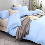 Nankusa Blue Duvet Cover Twin Size, 100% Washed Microfiber 3 Pieces Tassel Bedding Set, Ultra Soft and Durable with Zipper Cl