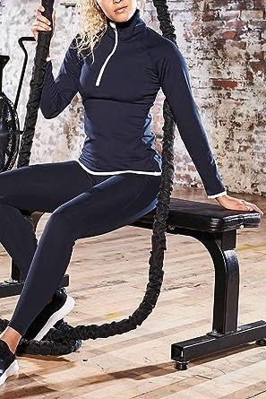 Fitness Sporttop Mivaro Damen Sportshirt Langarm mit Kragen