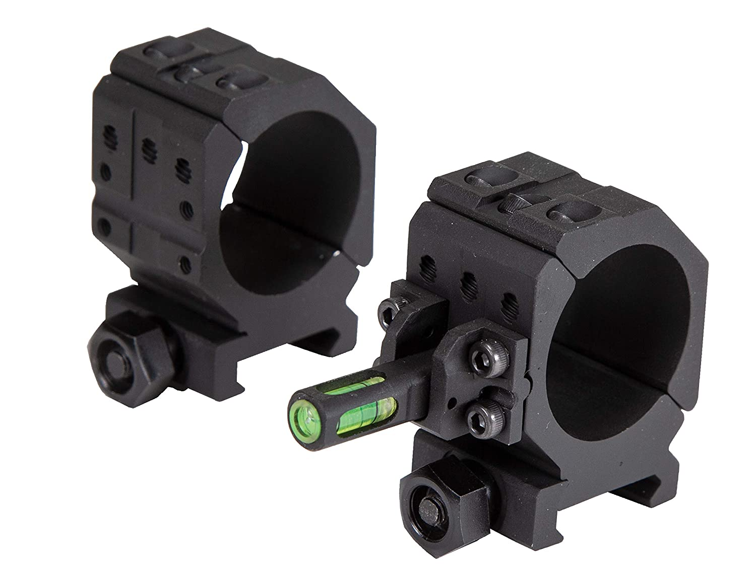 Wheeler 2 Piece Picatinny Rail Scope Rings with Flat Top Shooting and Gunsmithing 6-Hole Design and Integrated Anti-Cant Indicator for Leveling