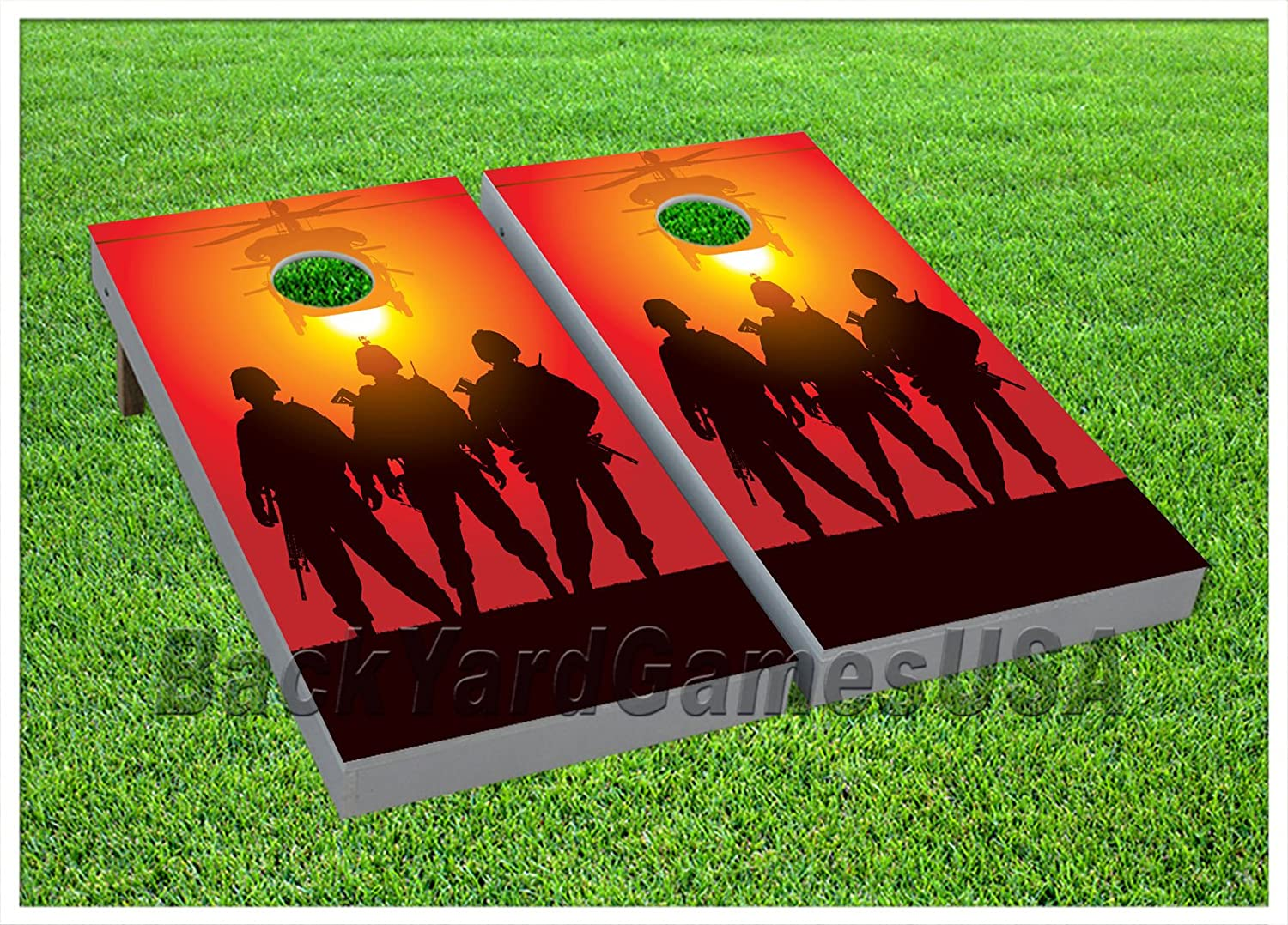 Army Troops Cornhole Beanbag Toss Game Wバッグゲームボードサンセットセット617   B0714QKTFM