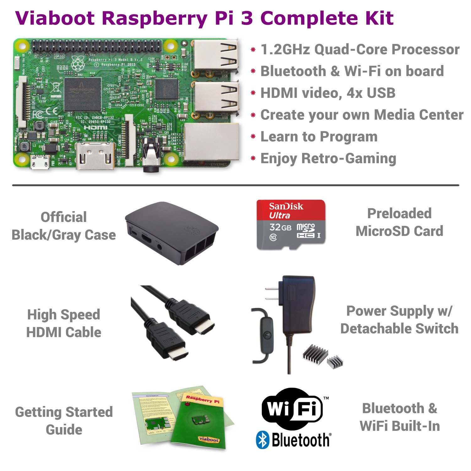 Viaboot Raspberry Pi 3 Complete Kit — 32GB Official Micro SD Card, Official Black/Gray Case Edition by Viaboot (Image #2)