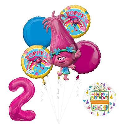 Mayflower Products NEW TROLLS POPPY 2nd Birthday Party Supplies And Balloon Bouquet Decorations: Toys & Games