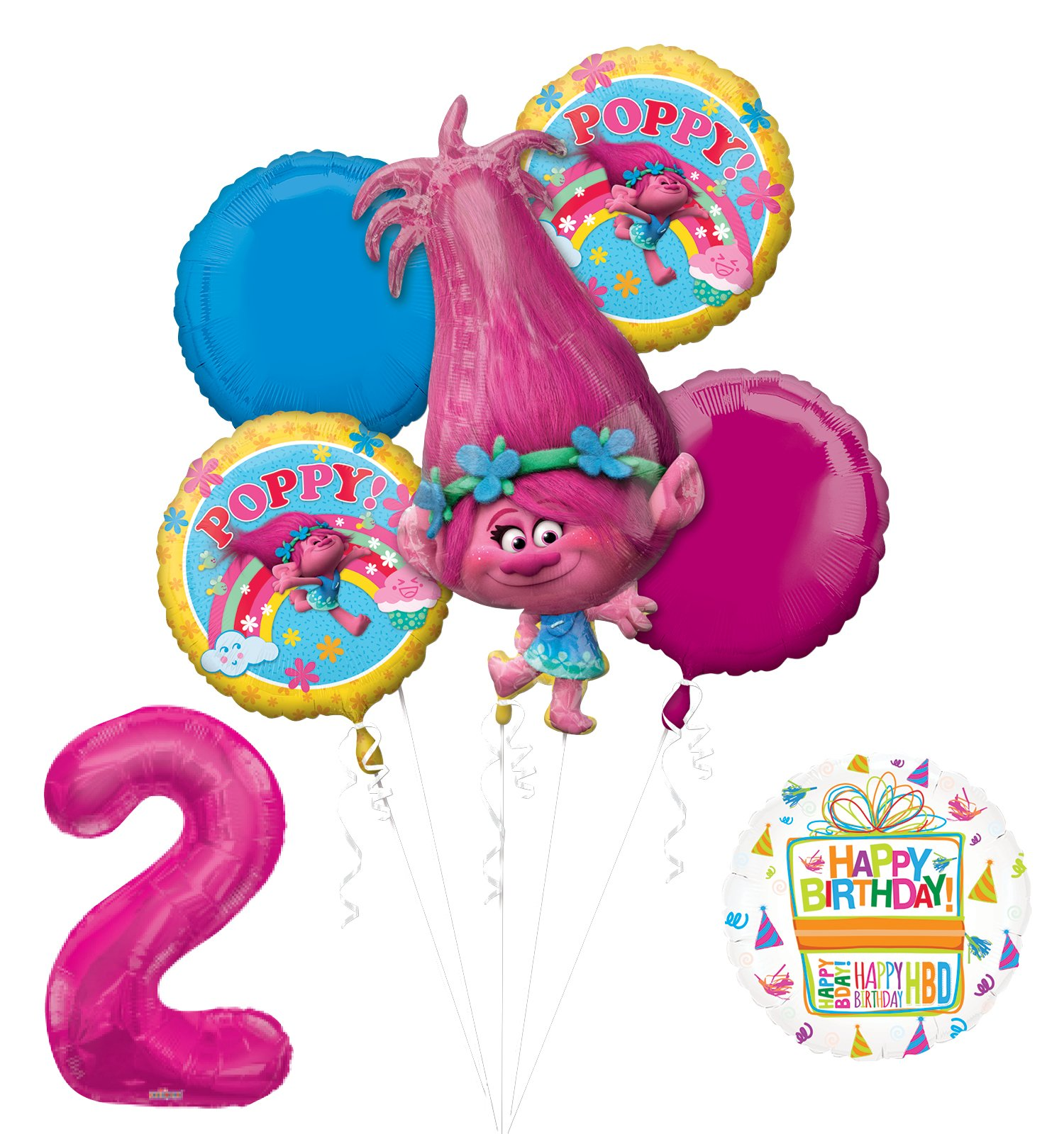 Mayflower Products NEW TROLLS POPPY 2nd Birthday Party Supplies And Balloon Bouquet Decorations